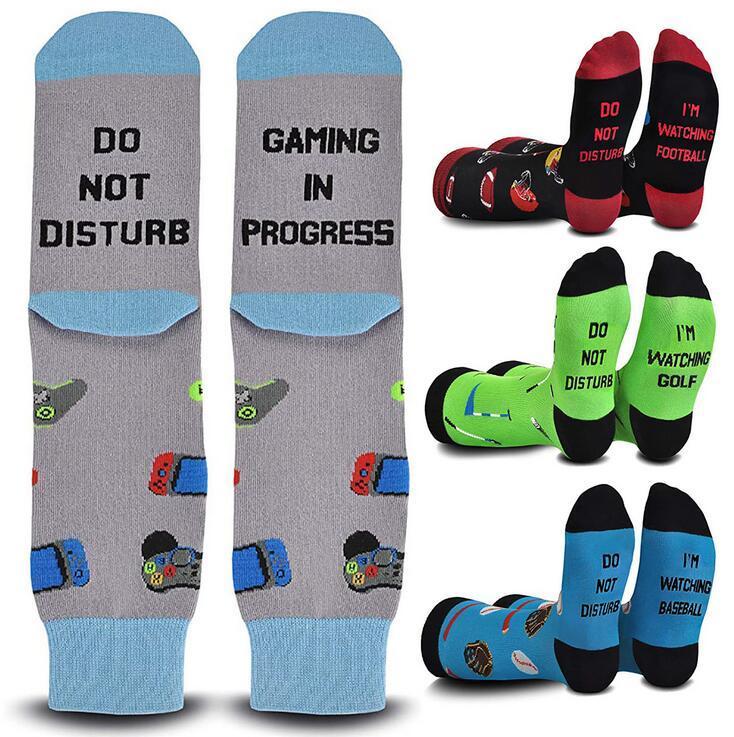 Rahatsız Etmeyin Gaming Adulit Mektup Baskı Çorabı Karikatür Tasarımları Çorap Basketbol Çorap Spor Koşu Kısa Ayak Bileği Çorap Gift DW