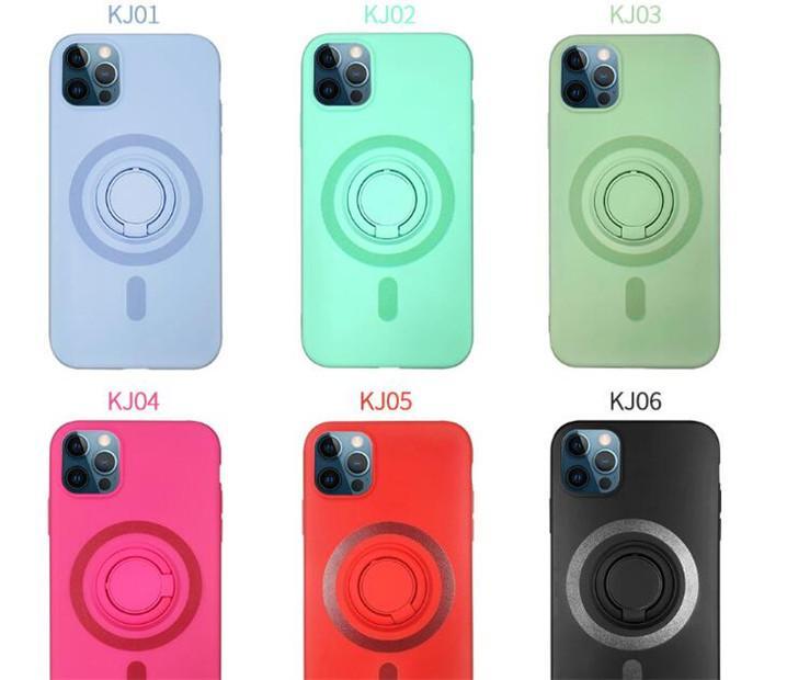 Творческий мягкий жидкий силиконовый чехол для телефона с кронштейном кольцо против падения беспроводной зарядки телефона для iPhone12 Pro Max