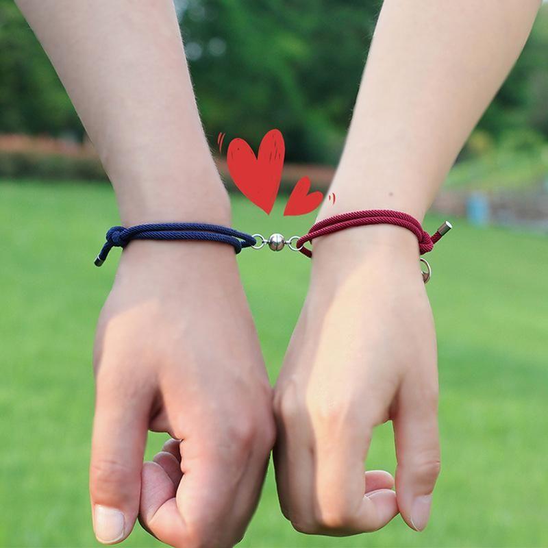 Счастливая веревка пара браслет красный черный узел веревочка плетеная магнитная пряжка сердца шарм браслеты дружбы ювелирные изделия