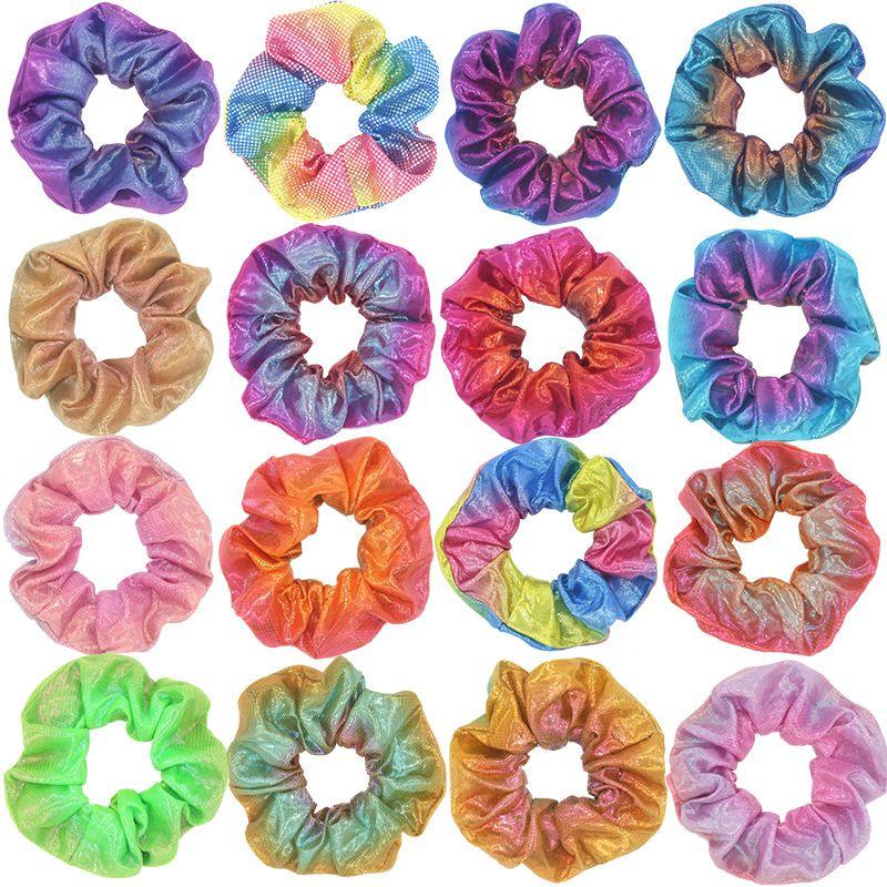 Kadınlar Parlak Lazer Scrunchies Saç Bandı Halat Moda Elastik Saç Halkası Kız At Kuyruğu Tutucu Daire Degrade Scrunchie Kafa 2020