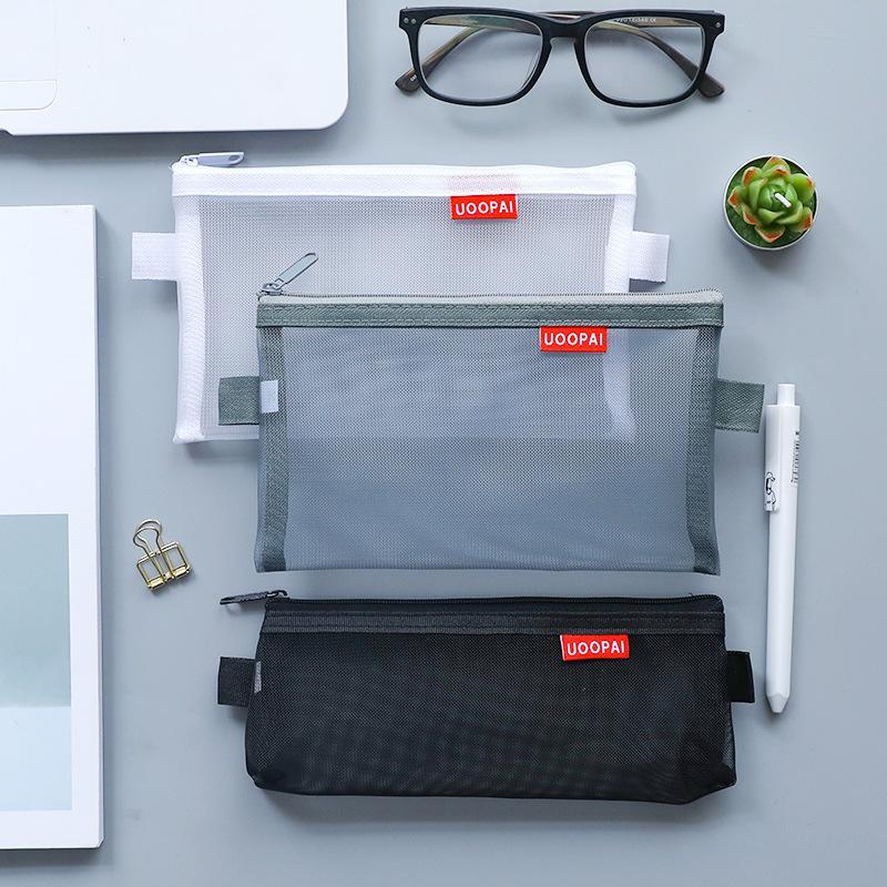 Einfache transparente Mesh-Bleistift-Fall-Speicher-Organizer-Stift-Taschen-Taschen-Nylon-Bleistift-Kosmetik-Tasche - Studentenschule Lieferungen