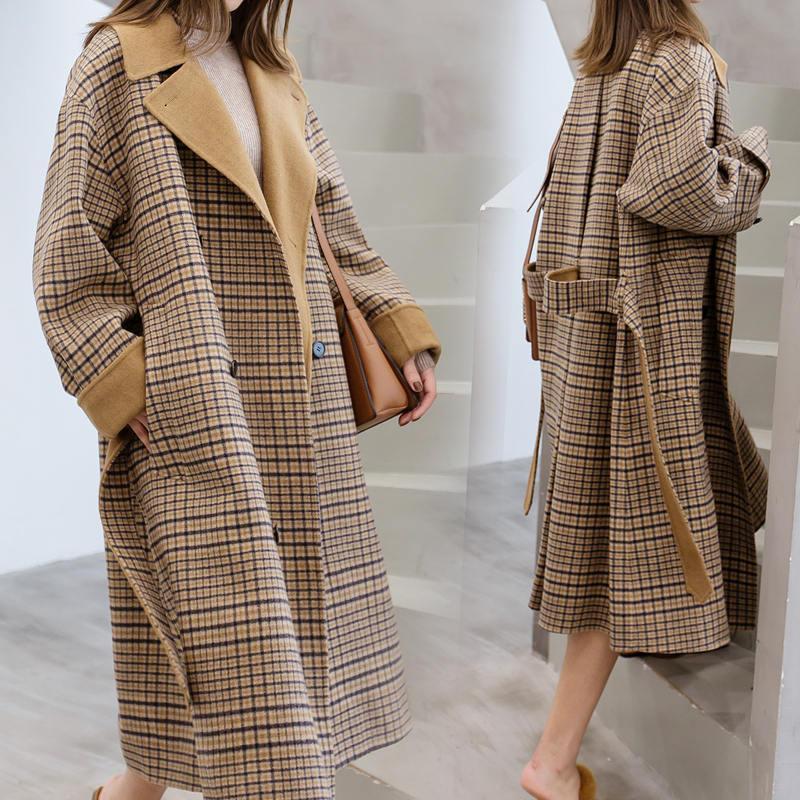 Abrigo de lana de tela escocesa de invierno otoño mujeres Harajuku Largo Abrigos Abrigos 2020 Nuevas Damas sueltas Chaqueta de lana Casaco Feminino V665