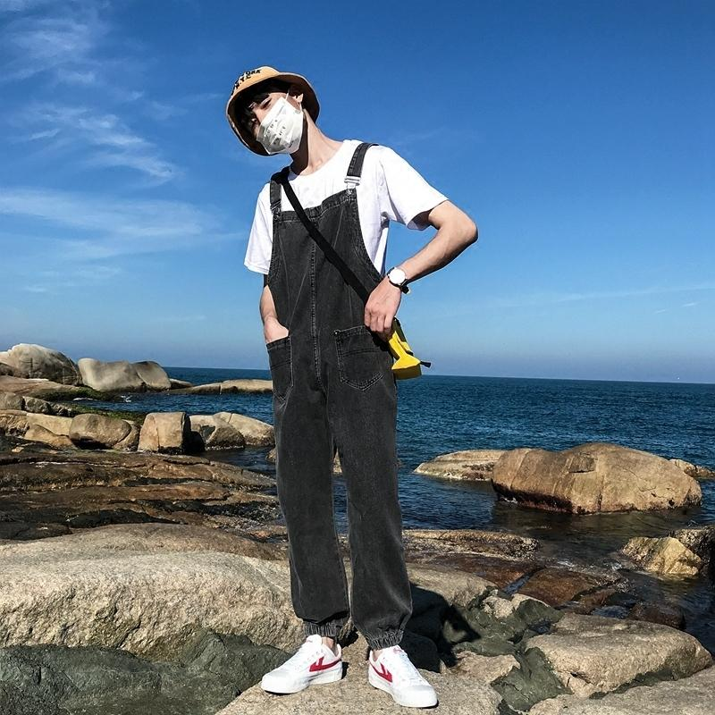 Sommer Mode Herren Lose Jeans Jumpsuits Denim Lätzchen Overall Für Mann Hosenträger Harem Pants Plus Größe S-XXXL A9229