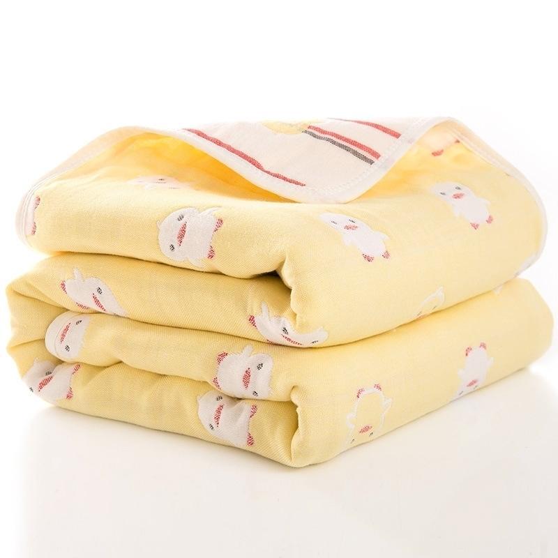 110 * 110 хлопок шестислойное детское одеяло мягкое детское одеяло обложки мультфильм одеяло банное полотенце для детей одеяла (размер 110 * 110) Y201009