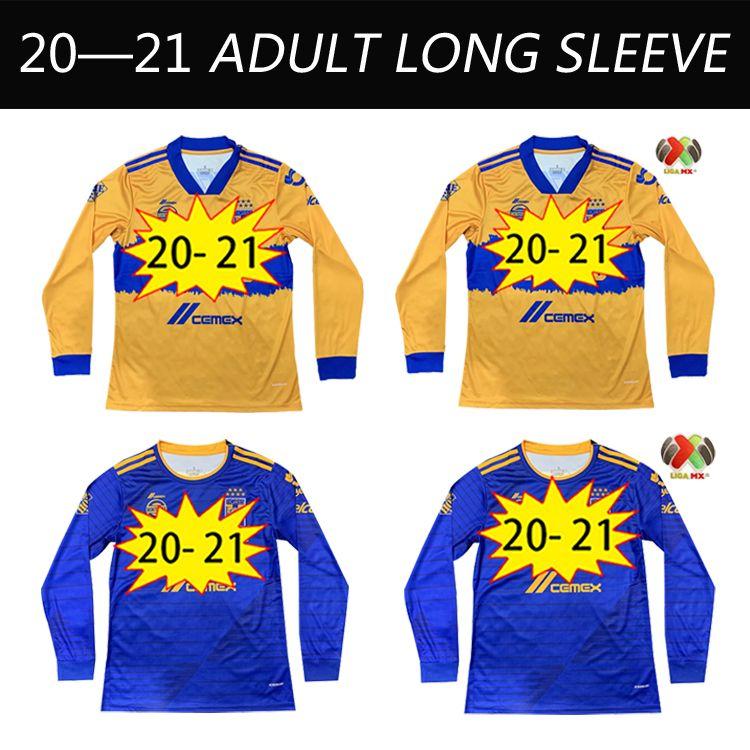 20 21 TIGRES UANL Mens Futebol Jerseys 7 Estrelas Gignac E.Vargas Quiñones Home Away Camisas de Futebol Camisetas de Futebol Manga Longa Uniformes