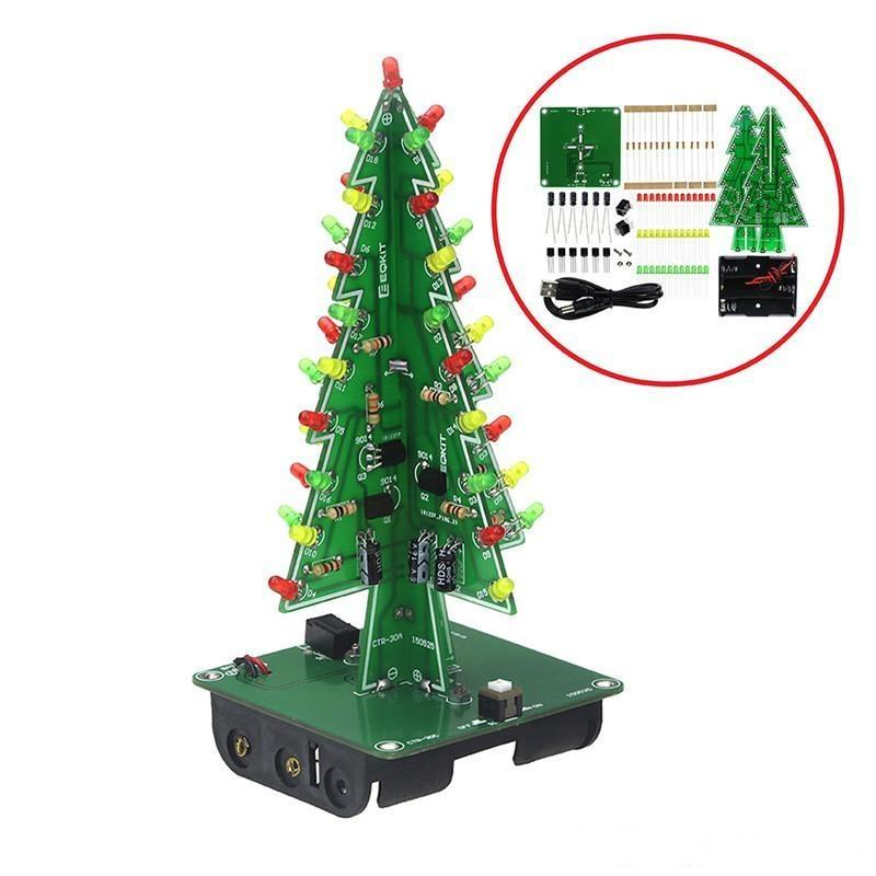 3D Christmas Tree LED DIY Kit rouge / vert / jaune flash LED Circuit Kit Electronic Entertainment Kit cadeau de Noël