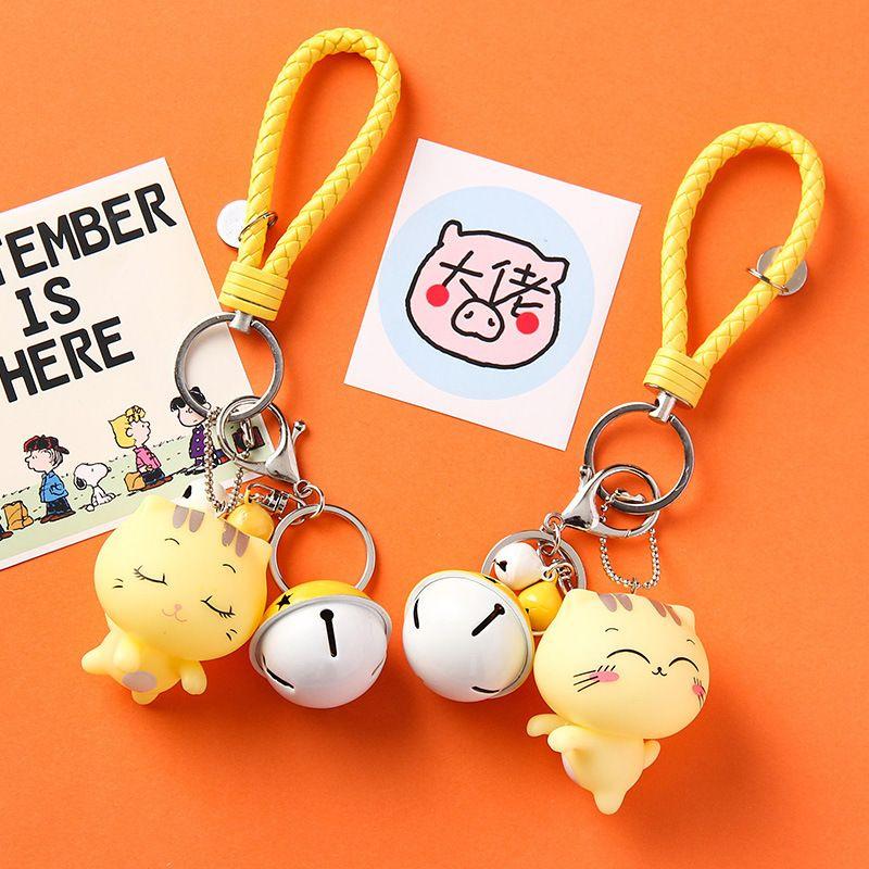 Kore karikatür basit ejderha sevimli erkek ve kadın yaratıcı araba anahtarlık büyük yüz kedi küçük hediye