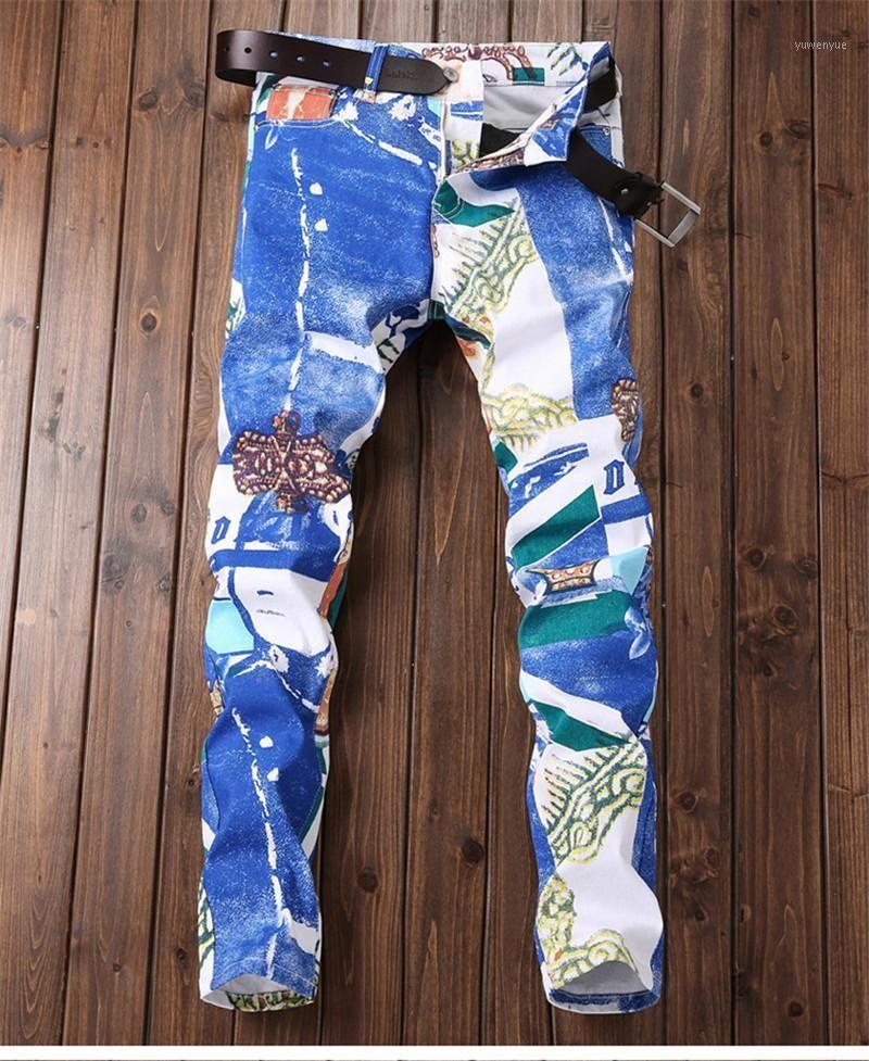 Men's Jeans Casual Stretch Slim Denim Pants Male Trousers Fashion Designer Mix Printing Jean Hombre Hip Hop Blue Jeans1