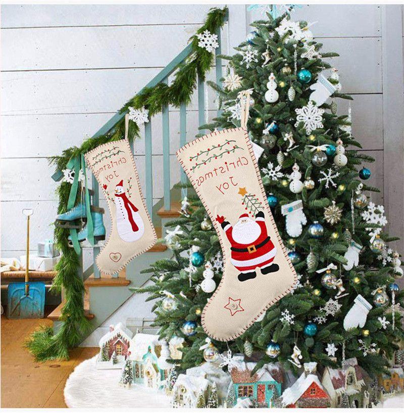 Burlap вышивка рождественские носки 46 * 18см дети подарок конфеты сумка Santa снеговика дизайн мешковины вышивка рождественские декоративные чулки оптом