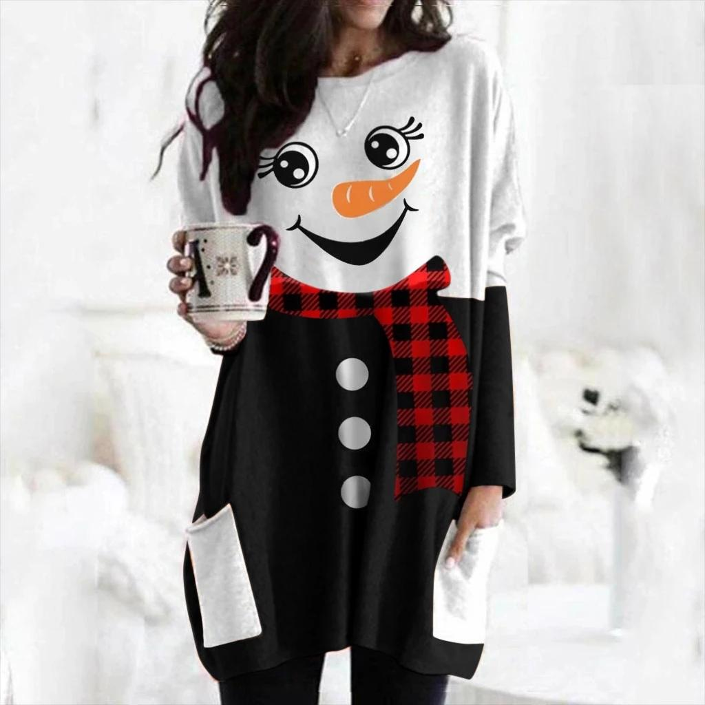 Plus Size Christmas Elk Print Stampa Top Tee Delle Donne Manica T-Shirt Casual Femmina Manica Lunga T Shirt T-shirt 2020 NUOVO NUOVO NULTAGGIO