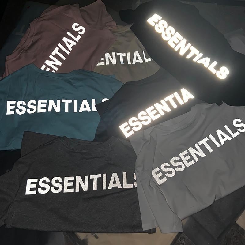 2021 Neue übergroße reflektierende Nebelwesens Essentials T-Shirt Frauen Kanye West Tees Hiphop Streetwear Männer Baumwolle Casual Tshirt 5LK2