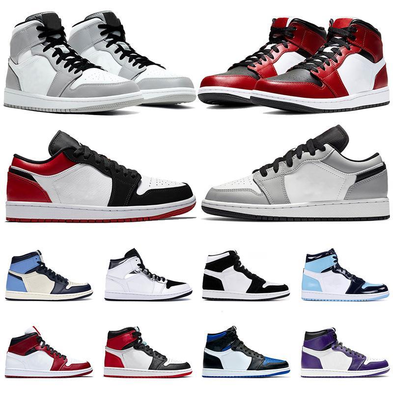 Nike Air Jordan 1 1s Jordan Retro 1 Jumpman 1 1s Bayan Erkek Basketbol Ayakkabı SatenÜrdünRetro Yüksek OG Düşük Obsidiyen UNC Şanslı Yeşil Açık Eğitmenler Spor Sneakers