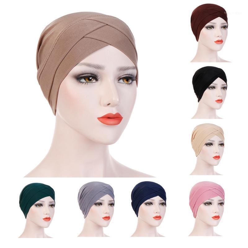 Women's Elegant Stretchy Hat Turban Forehead Cross India Hat Head Wrap Chemo Solid Color Bandana Muslim Scarf Girl Cap1