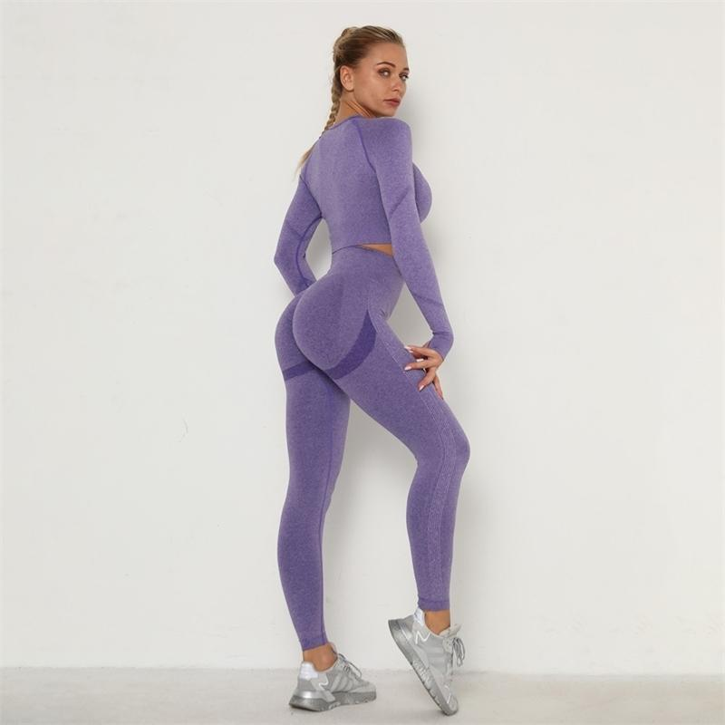 Women Seamless Gym set Fitness Sports Suits GYM Cloth Long Sleeve Shirts High Waist Running Sexy Booty Leggings Workout Pants 201120