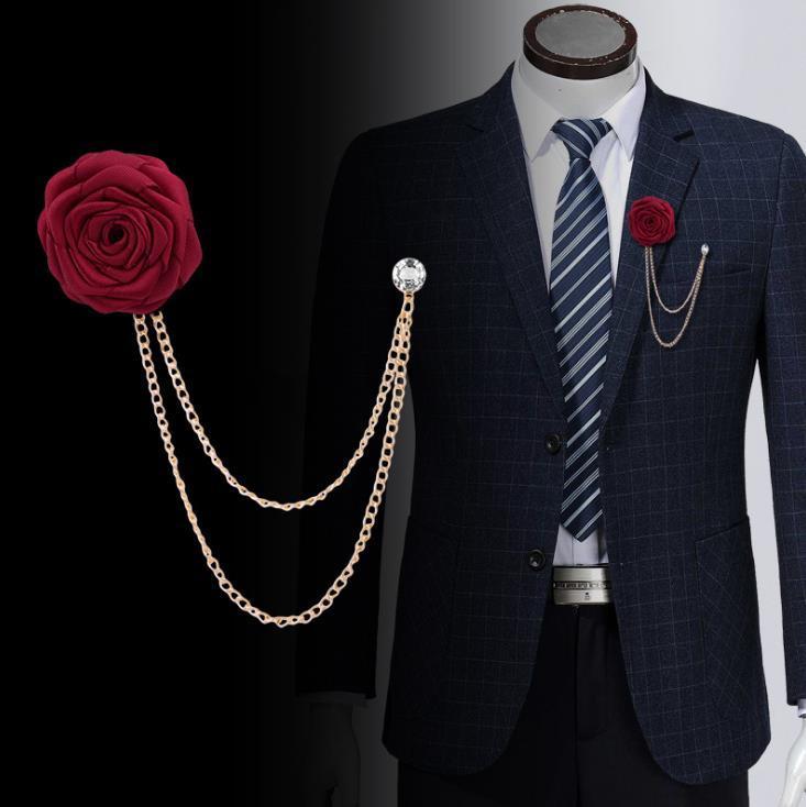 2021 ZB40 Fashion New Bridegroom and Groom Corsario di nozze Panno fatti a mano Rose Brooch Tassel Catena Accessori Accessori