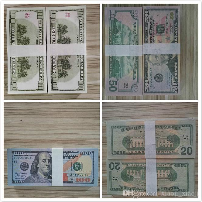 Hot 20/50/100 Gefälschte Kollektionen Filme Geld Dollar zählen Dollar Bank Verkauf Requisite-Prop-Geld Festivern Party 12 Spielzeug Note-Geschenke Spiele Vtuvu