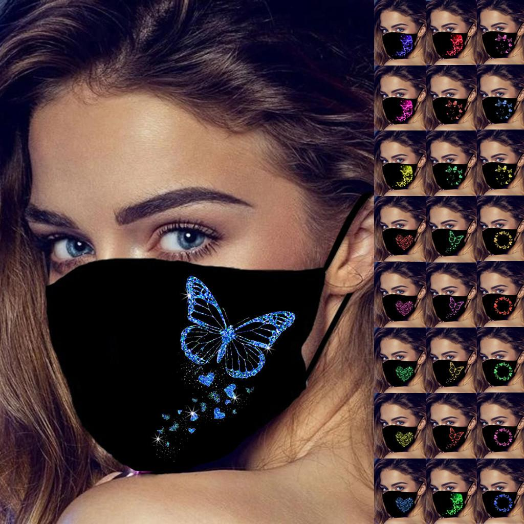 2021 Adult Black Face Mask Funny Luminescent Butterfly 3d Printed Face Mouth Masks Dustproof Protective Mascarillas Face mask