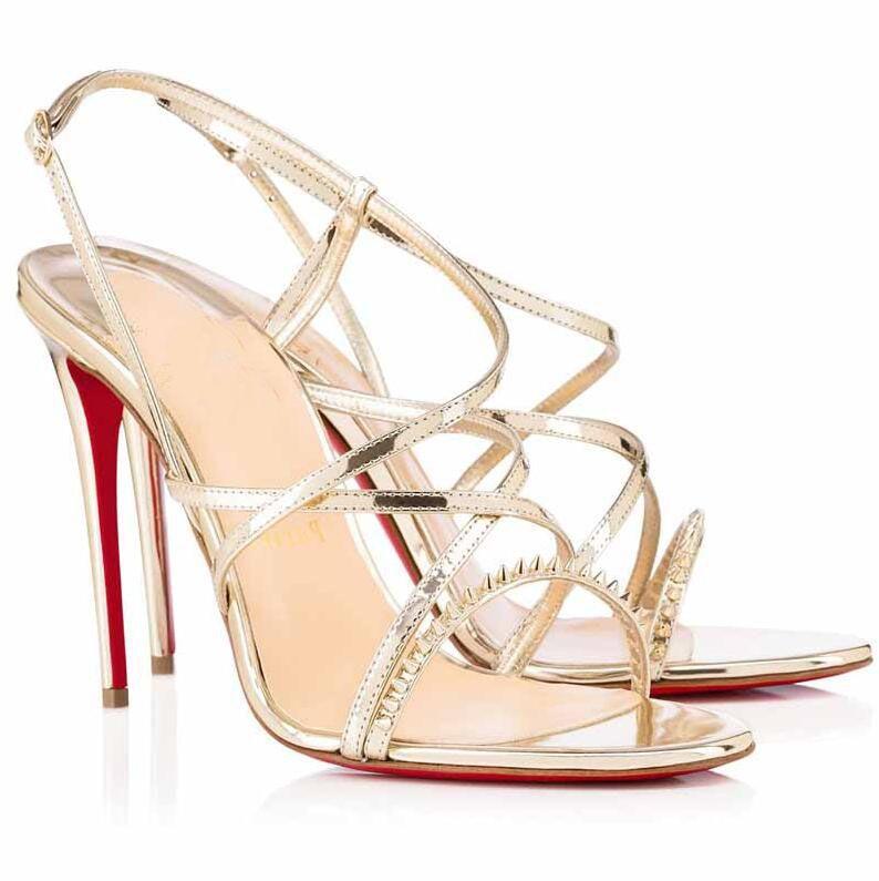 Luxusdesigner-Frauen-Sandalen! Luxus Paris Lady GwiniSpike Spikes Rote Untere Schuhe Sexy High Heels Gladiator Sandalen Sommer Sandalias