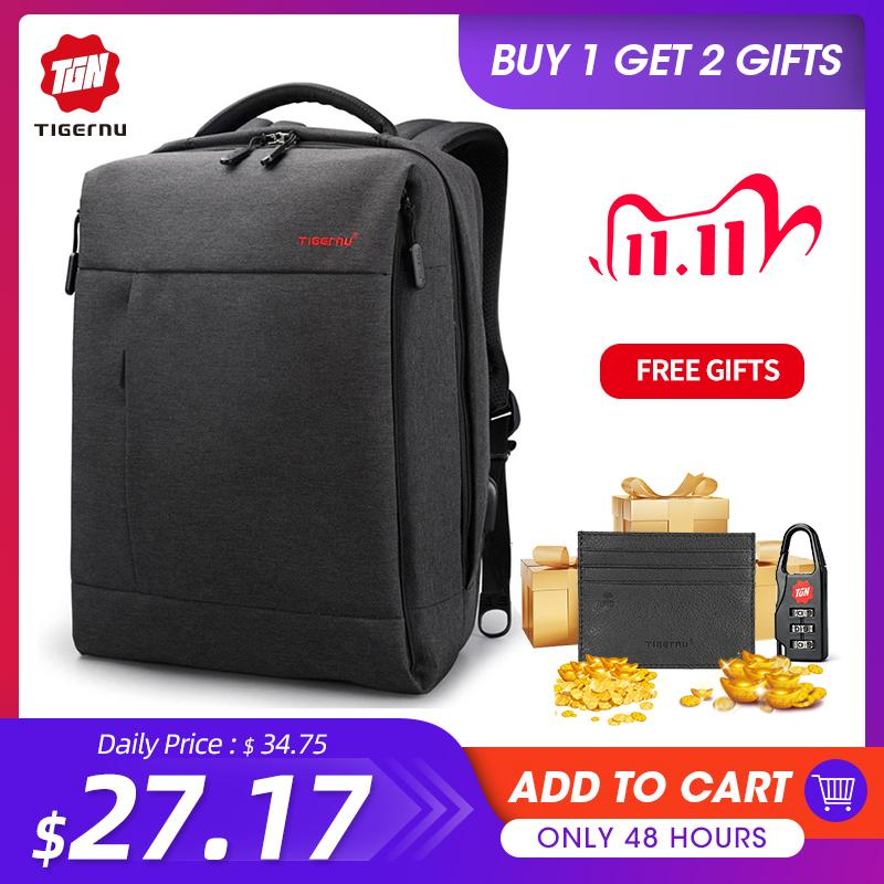 Tigernu Brand Slim Zaino USB Carica Uomini 14 15.6 pollici Zaino Laptop Donna Splashproof Simple School School Back Backpack per adolescenti