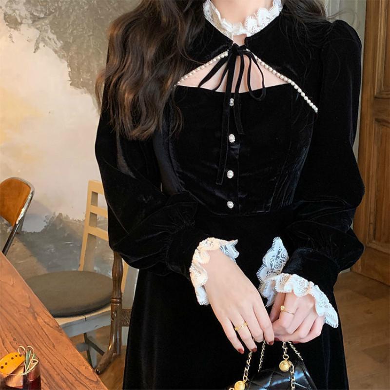 Primavera goth elegante retro-shredded fêmea hepburn partido midi vestido de designer coreano alto