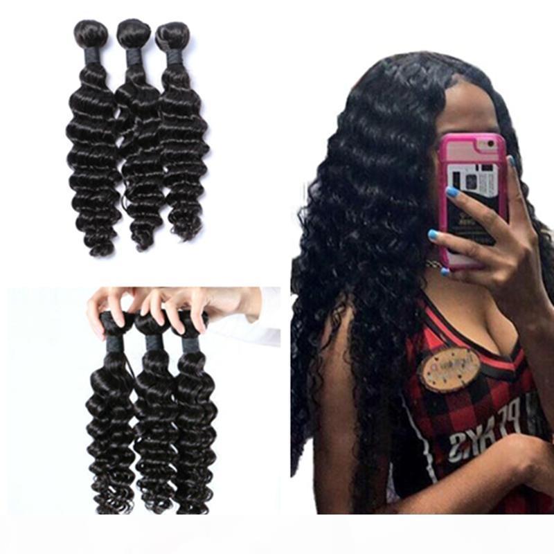 8А дешевые бразильские индийские перуанские человеческие волосы плетение 8-30 дюймов Deep Wave Bundle Deals Indian Deep Wave вьющиеся волосы 100 г шт. 8-30 дюймов