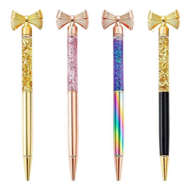 Nuova penne a sfera per ufficio cancelleria creativo oro polvere di polvere farfalla penna pubblicità penna moda metallo penna a sfera forniture di scrittura