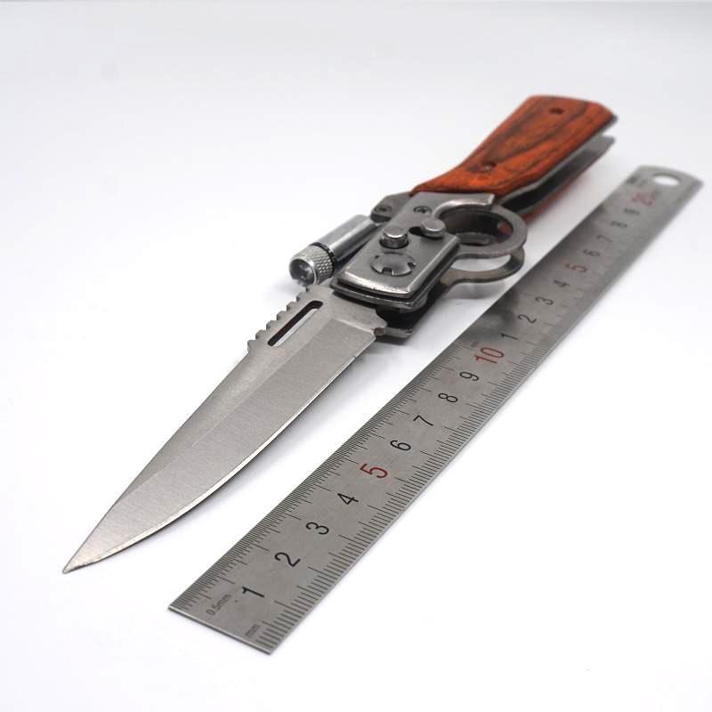 Формовая винтовка с лезвием тактических ножей Карманные лезвие ручка AK-47 Wood 440 складной для кемпинга Ножи выживания AK47 Светодиодный фонарик Pakk Plrk