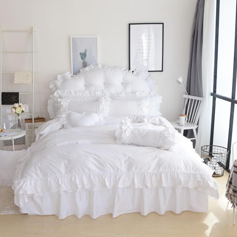 Falda de cama 100% algodón Falda de cama Blanco Ruffles Funda de edredón Funda plana Cojín de funda de almohada 4 / 8PCS