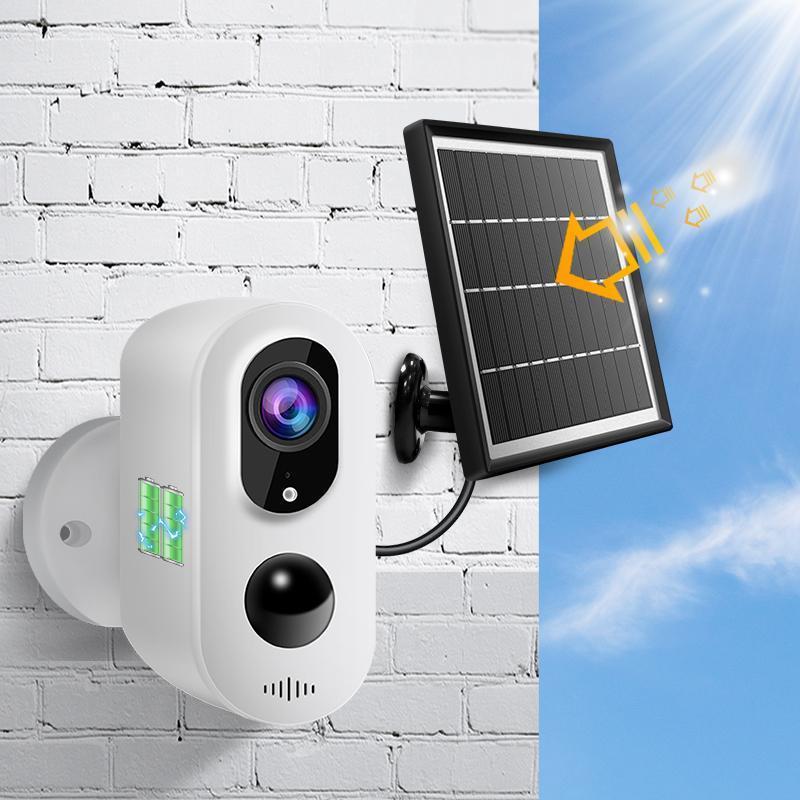 Cámaras Cámara IP Videcam Panel solar de alta potencia WiFi 1080P PIR SALIDA DE SEGURIDAD CCTV IP66 A prueba de agua Dos vías Audio webcam al aire libre