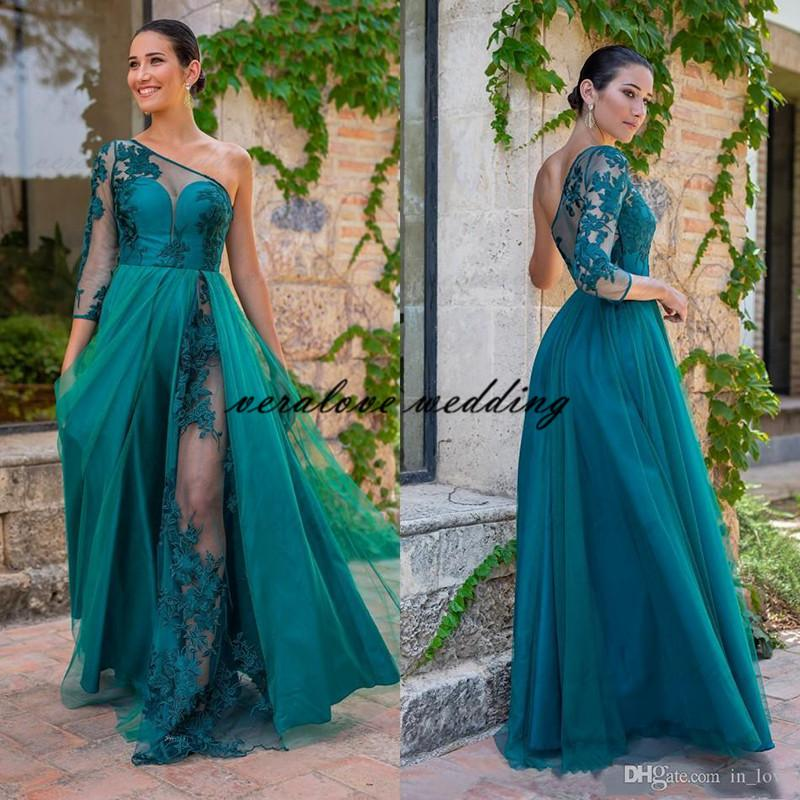 Turquoise Lace One Shoulder Evening Dress 3/4 Long Sleeves High Slit Prom Dress Tulle Bridesmaid Party Gowns