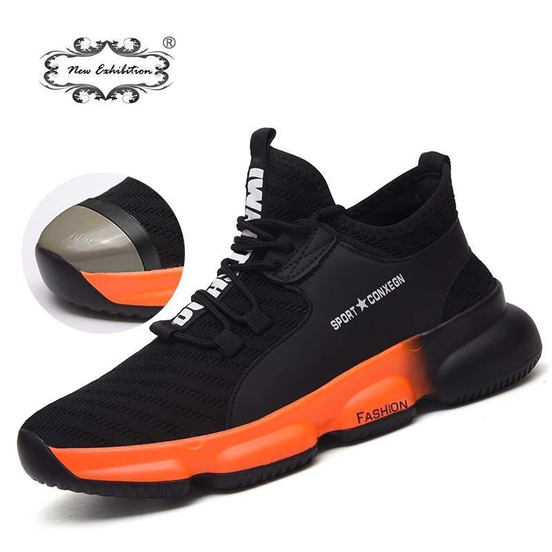 Nouvelle exposition Hommes Travail Safety Shoes 2019 Mode En Acier Outdoor Toe Cap Anti-Smashing Perfluant Construction Sneakers Bottes J1210