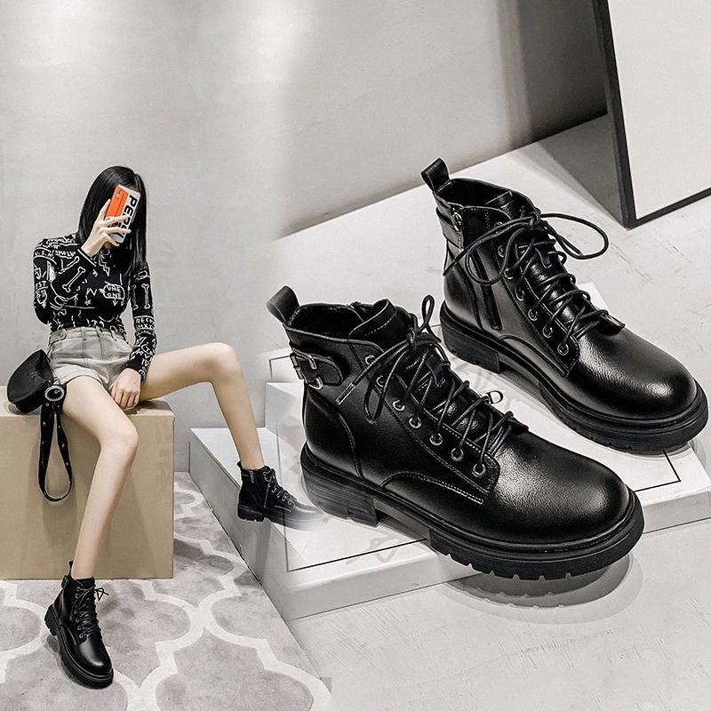 Женщины натуральные кожаные сапоги женские мотоциклетные ботинки 2020 осень новая мода сплошной цвет леди круглый носок Мартин # S41G