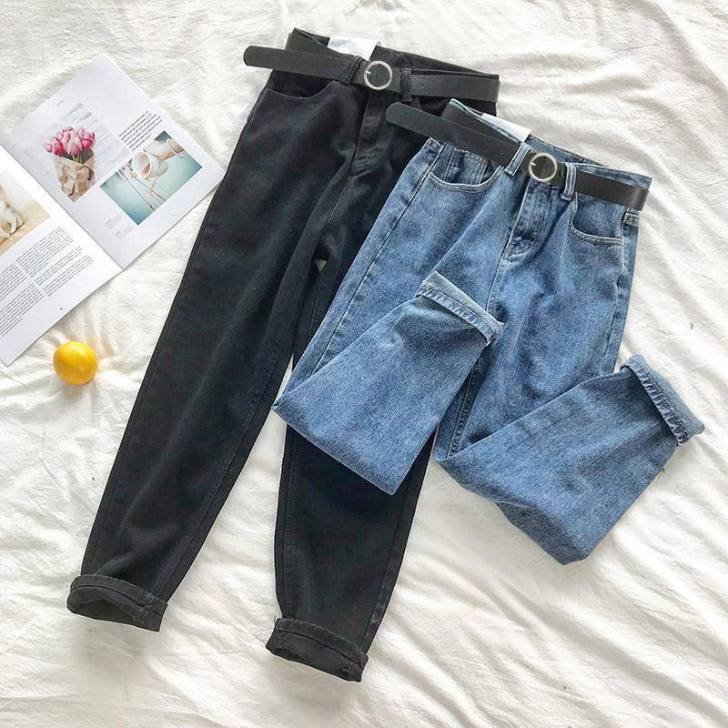 Talla grande Mujeres Alta Cintura Jeans Streetwear Vintage Negro Todos Match 5XL Womens Fashion Fashion Stretch Casual Pantalones Boyfriend 210203
