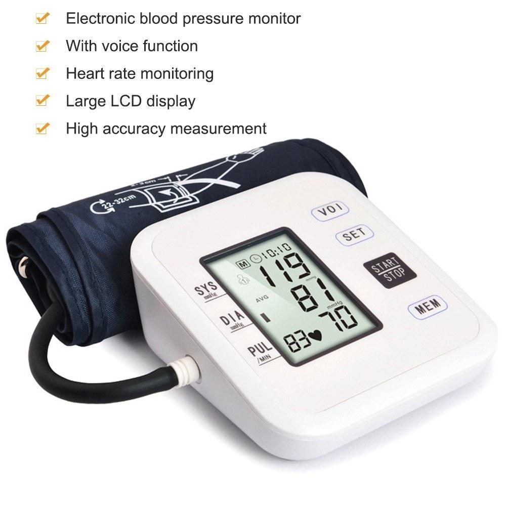 Moniteur de pression artérielle électronique automatique de style haut de bras avec grand écran LCD Intelligent Intelligent Thermètre Tool de mesure