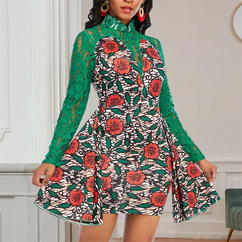 عارضة فساتين النساء المطبوعة فستان الزهور انظر من خلال الدانتيل الأخضر المرقعة طويلة الأكمام عالية collor مثير حزب عيد الميلاد تاريخ الليل vestidos