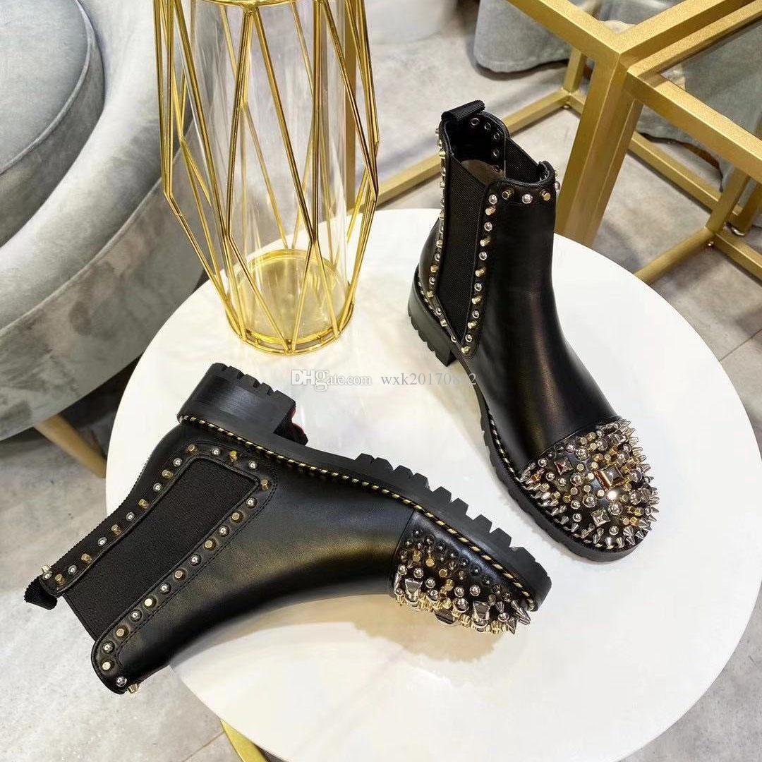 2020 neue Art und Weise Luxus Damen stilvolle kurze Stiefel bequeme Leder Frauen kurze Stiefel Farbe Motorrad Martin Stiefel Größe 35-41
