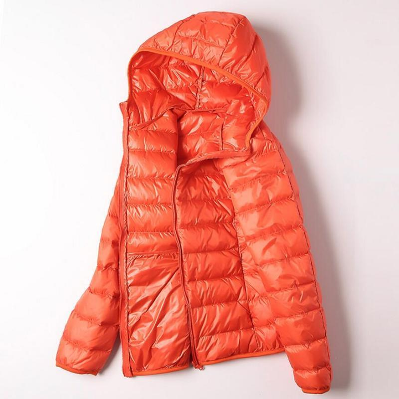 2019 осень зима утка вниз куртка с капюшоном женщины ультра светлые тонкие зима вниз пальто женщин мода женский пиджак1