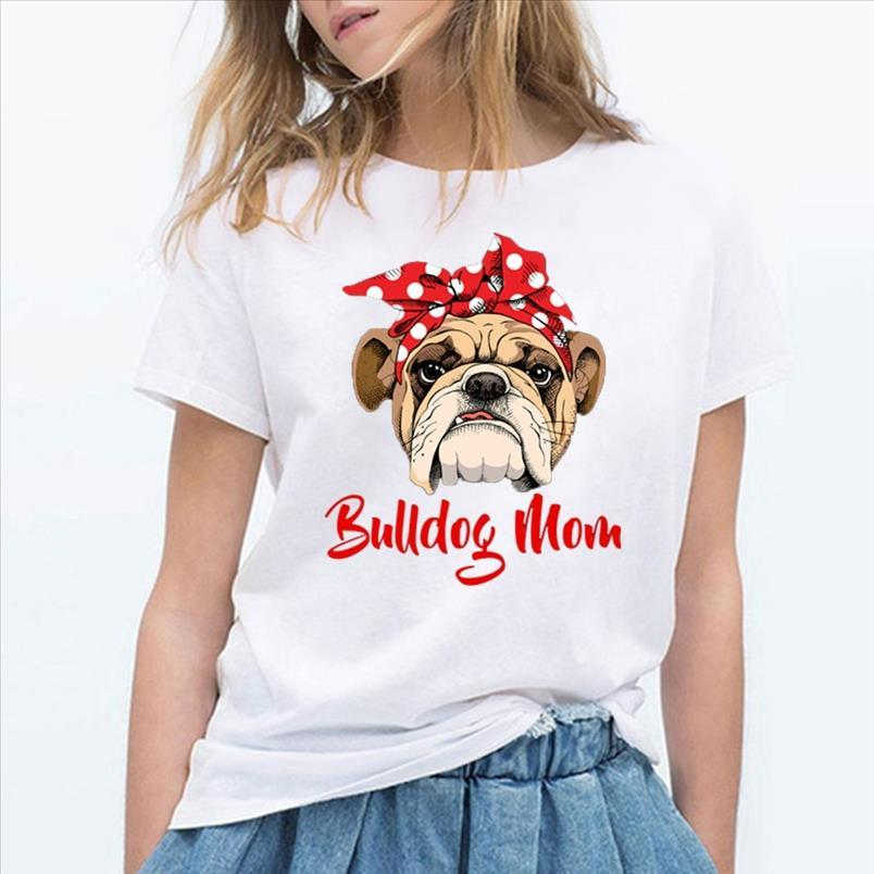 Lustige Bulldogge Mom T-shirt Frauen Graphic Casual Hemden Femme Sommer Kurzarm Tshirt Weiße Vintage Hipster T-Stück Tops