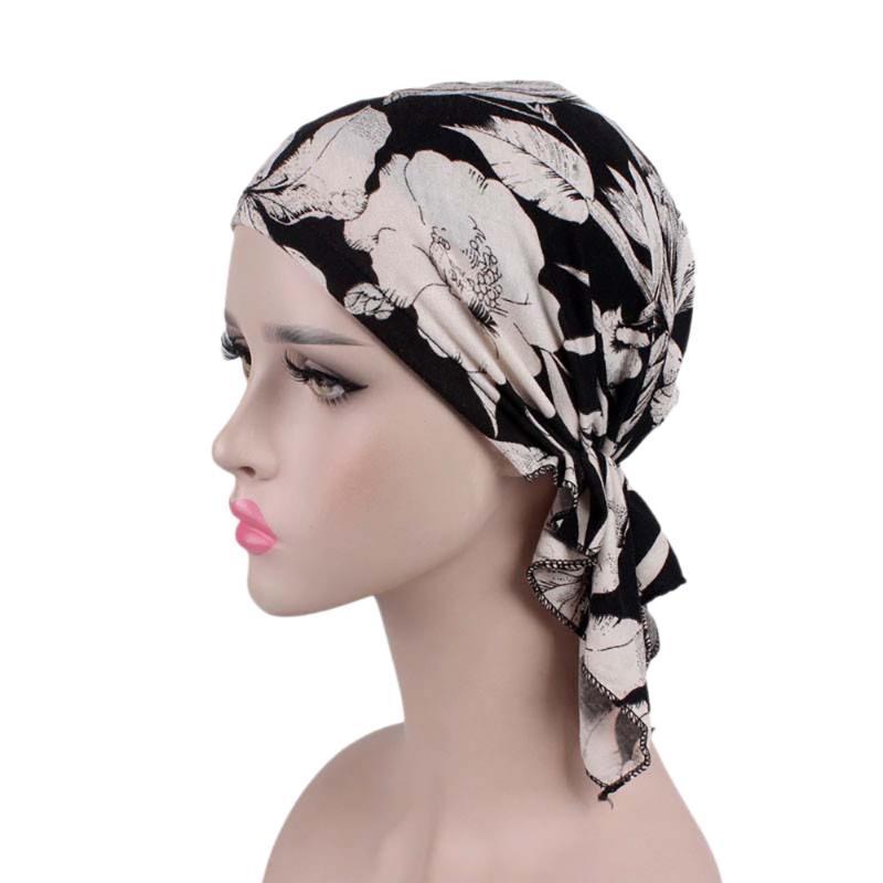 Women India Muslim Elastic Turban Print Cotton Hat Floral Print Head Scarf Wrap Autumn Girl's Beanies Skullies Casual Bonnet