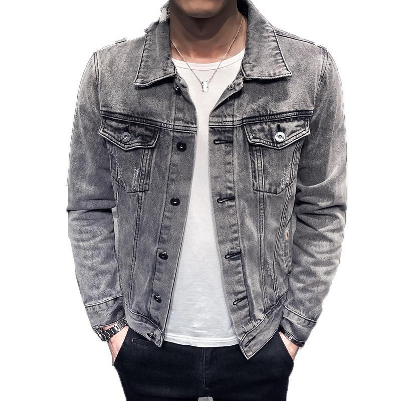 Denim Ceket Erkekler Motorcil Ceketler Delik Retro Denim Ceket Streetwear Hip Hop Bombacı Ceket Kovboy erkek Jean Chaqueta Hombre