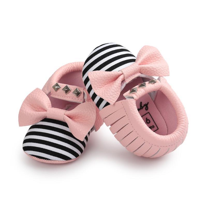 أول مشوا الأزياء برشام الطفل الأخفاف للفتيات مخطط جلد الطفل الأحذية