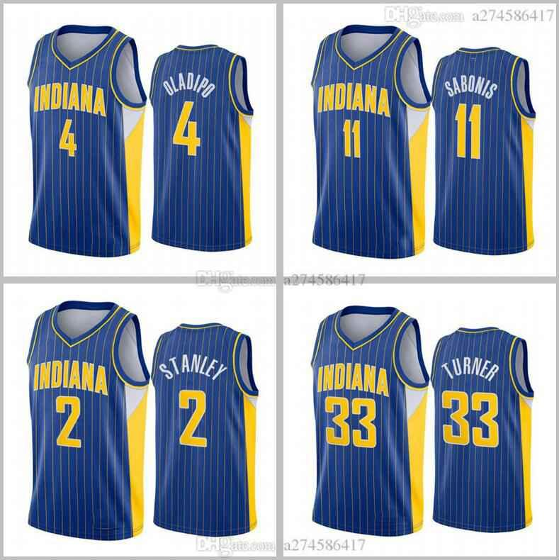 Hombre Baloncesto New Temporada Indianacy Team 4 Victor Oladipo 11 Sabonis 2020-21 Blue City Jersey
