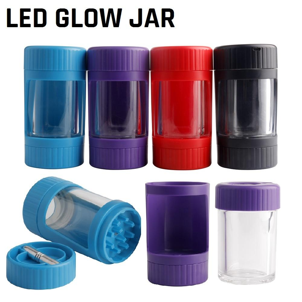 Conteneur de stockage de bocal de lumière LED avec broyeur inférieur 155ml STASH JAR 4 couleurs Bouteilles à vide brillantes de tabac brillant