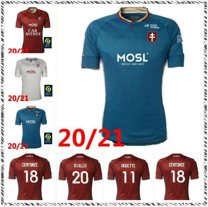 20 21 FC Metz Soccer Jerseys Diallo 20 Centonze 18 Vagner 27 Niane 7 Fofana 6 Home 2020 2021 قمصان كرة القدم جيرسي