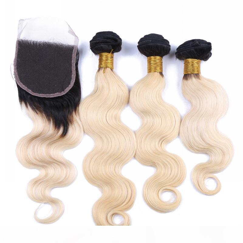 바디 웨이브 1B 613 어두운 뿌리 Ombre 4x4 전면 레이스 폐쇄 3Bundles 4pcs Lot Virgin Brazilian Blonde Ombre Hair Top Closure