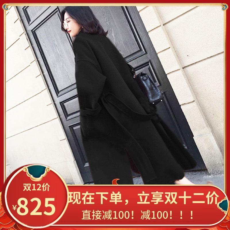 블랙 양면 캐시미어 여성 중간 및 긴 가을 / 겨울 2020 새로운 스타일 하이 엔드 한국어 루즈 모직 코트