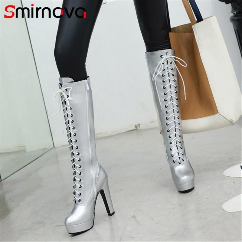 Smirnova 2020 NOUVEAU ARRIVER LES BOTTES AUTOMNE D'AUTOMNE POUR LES FEMMES Bottes High Bottes Plateforme Chaussures Plateau Rond Toile Sexy Super Heels1