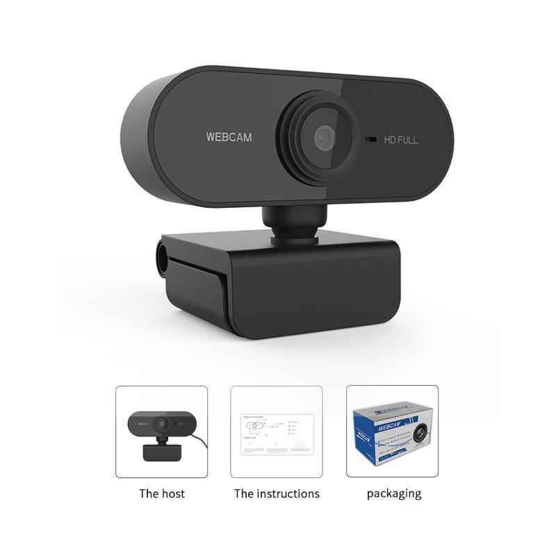 HD Computer Camera Видеоконференция Камера Веб-камера 2 Mega 1080p Пиксель Авто Фокус 360 ° Вторая USB Plug Play с микрофоном