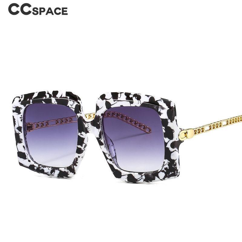 46616 Gafas de sol de marco grande de lujo Piernas de cadena de metal hombres Mujeres Moda Sombras UV400 Vidrios vintage