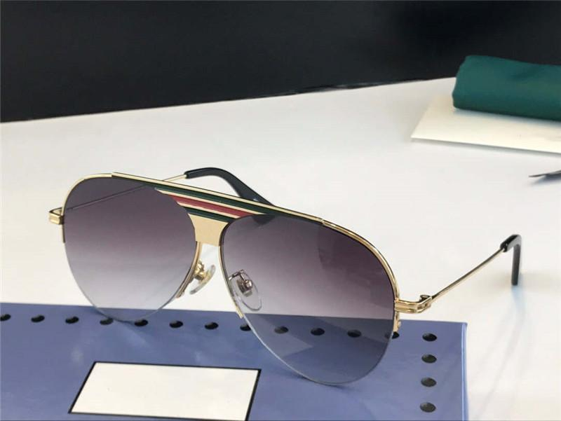 1074 Yeni Moda Güneş Gözlüğü Erkekler ve Kadınlar Için Renkli Lens Ile Büyük Oval Metal Malzeme Yarım Çerçeve Pular Goggles En Kaliteli Ücretsiz Kutu